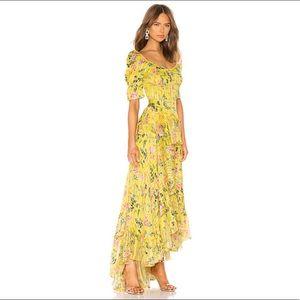HEMANT AND NANDITA Satin Stripe Dress Yellow XS